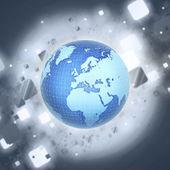 Digitální zeměkoule se satelity a síť — Stock fotografie