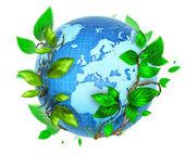Eco blue globe with green leaf illustration — Stock Photo
