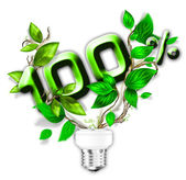 Energy saving eco lamp with green values concept — Stock Photo