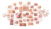 Gezichten van glimlachen in de reeks. gezonde tanden. glimlach — Stockfoto