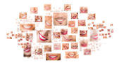 Volti di sorridente nel set. denti sani. sorriso — Foto Stock
