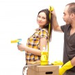 Couple preparing for renovation of their home — Stock Photo #9368385