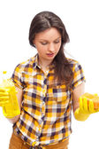 Portrait of housewife cleaner. Isolated over white background. Housekeeping service concept — Stock Photo