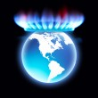 Gas Stove flame as crown of Earth planet. — Stock Photo #9731410