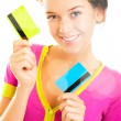 Beautiful woman holding two different credit or discount or membership cards — Stock Photo