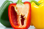Close up of Three Color Capsicums — Stock Photo