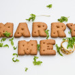 Stockfoto: Marry Me Biscuits And Leaves