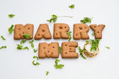 Marry Me Biscuits And Leaves — Stock Photo