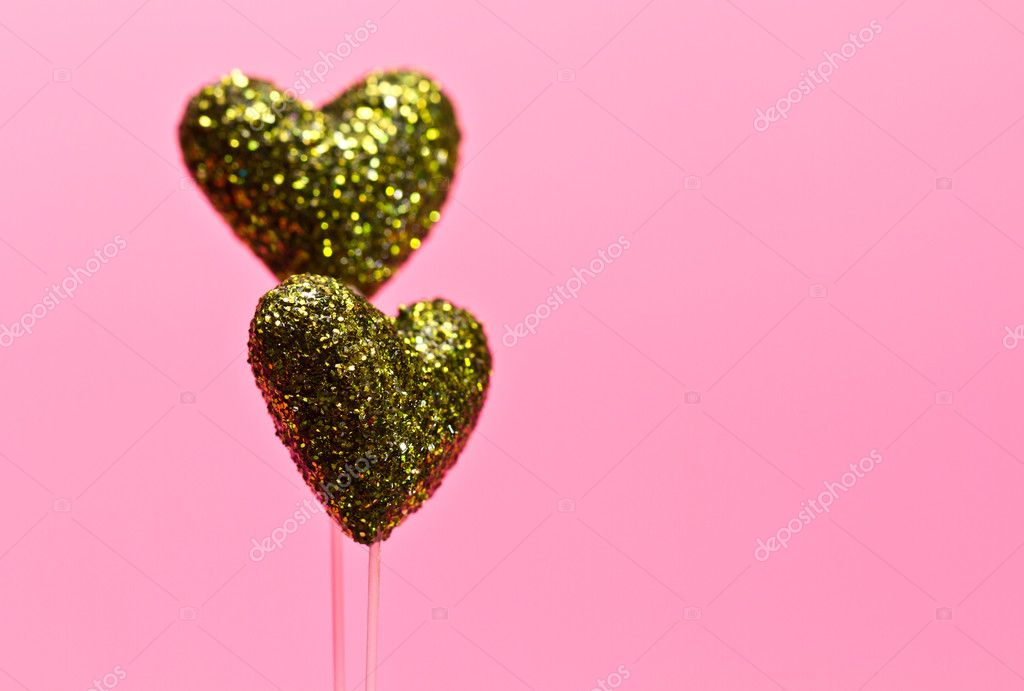 Green glittering styrofom heart wih pink background for valentine use  Stock Photo #8366596