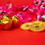 Capodanno cinese ii di lingotti e monete — Foto Stock