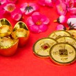 Chinese New Year Coins and Ingots — Stok fotoğraf