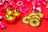Chinese New Year Coins and Ingots — Stock Photo