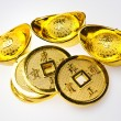 Stock Photo: Gold Ingots and Emperor's Coin II