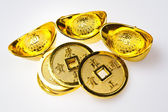 Gold Ingots and Emperor's Coin II — Stock Photo