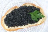 Black caviar sandwich — Stock Photo
