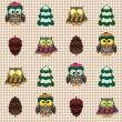 Royalty-Free Stock Vector Image: Winter checked pattern with cute owls