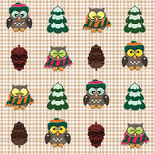 Winter checked pattern with cute owls — Stock Vector