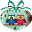 Stock Vector: Valentine cute owls