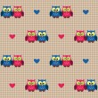 Checked pattern with love owls — Stock Vector