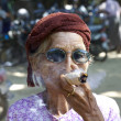 Woman in Myanmar with Cheroot Cigar — Stock Photo