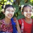 Stock Photo: Myanmar Children wearing ThanakMakeup