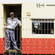 Passengers aboard train in Yangon, Myanmar — 图库照片