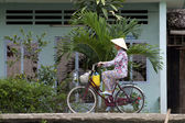 Vietnamese Woman on Bicycle — Stock Photo