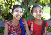 Myanmar Children wearing Thanaka Makeup — Stock Photo