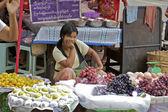 Street Market Vendors Yangon Myanmar — Stock Photo