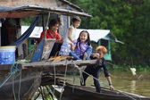 Cambodian Children on Houseboat — Stock Photo