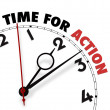 White clock with words Time for Action on its face - Foto de Stock