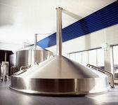 Brewery workshop with stainless fermentation vats — Stock Photo