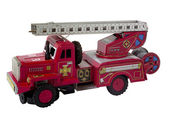 Rare vintage fire truck toy isolated on white — Stock Photo