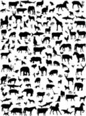 Mix animals silhouette — Stock Vector