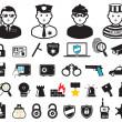 Crime world symbols, set — Stock Vector
