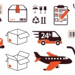 Mail delivery, transportation symbols - Imagen vectorial