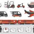 Stock Vector: Mail delivery, transportation symbols