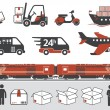 Mail delivery, transportation symbols - Stock Vector