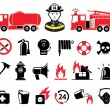 Firefighter icons, set — Stock Vector