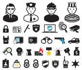 Criminaliteit wereld symbolen, instellen — Stockvector