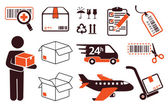Mail delivery, transportation symbols — Stock Vector