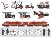 Mail delivery, transportation symbols — Stock Vector
