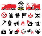 Set di icone di vigile del fuoco — Vettoriale Stock