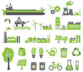 Símbolos de energía verde — Vector de stock