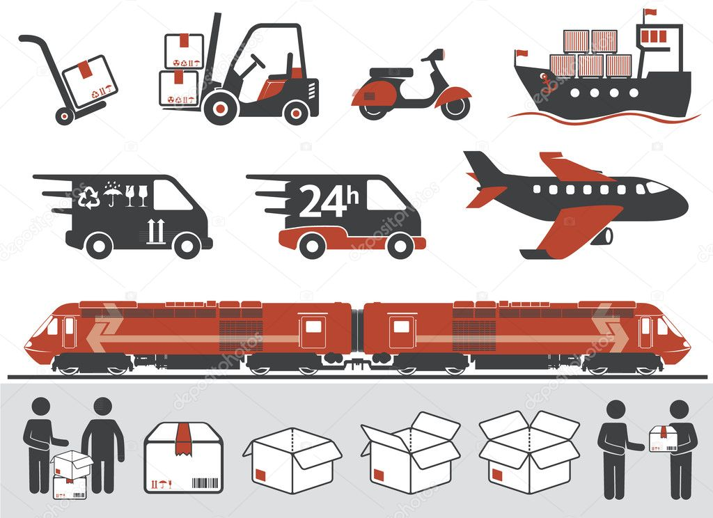 Mail delivery, transportation symbols, boxes  Stock Vector #10197889