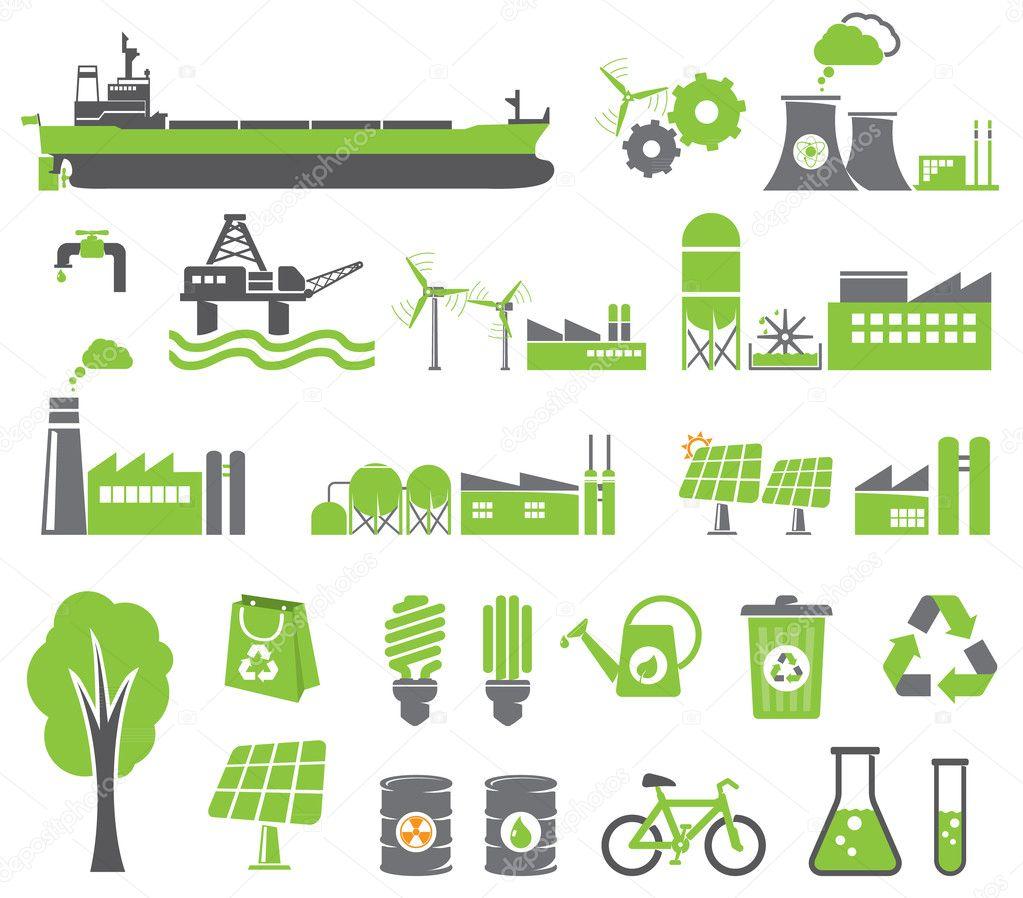... , il concetto di ecologia, fabbrica — Illustrazione stock #10199065
