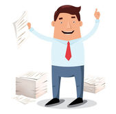 Office worker and piles of papers — Stock Vector