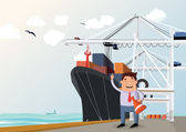 Cargo ship in port — Stock Vector