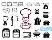 Ensemble d'appareils de cuisine — Vecteur