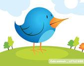 Little blue bird — Stock Vector